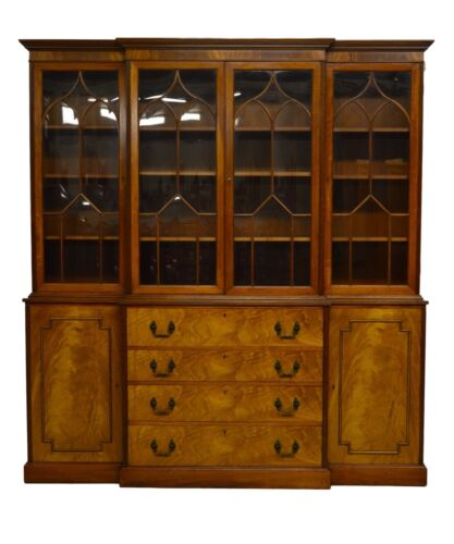 Kaplan Furniture Beacon Hill Collection 2pc Mahogany Breakfront Bookcase w. Desk
