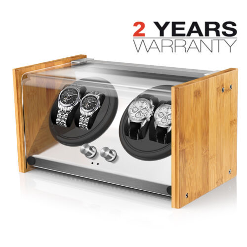 Bamboo Crystal Automatic Rotation Dual Double 4 Watch Winder Display BoxBoxes & Cases - 260330