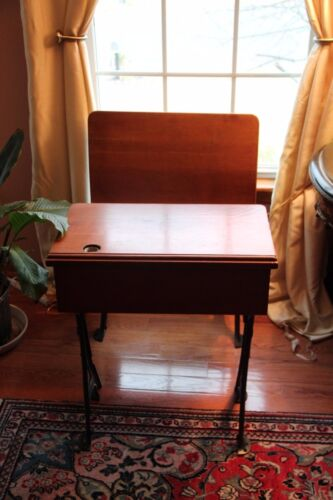 Antique School Desk with Original Inkwell and Folding Seat