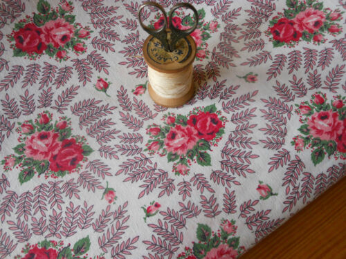 Vintage Retro Time Softened Shabby Roses Cotton Fabric  ~Red Pink Rose ~ 1950's