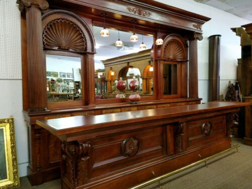 Antique mahogany back and front bar from a pub/saloon in Boston MA 15ft backbar