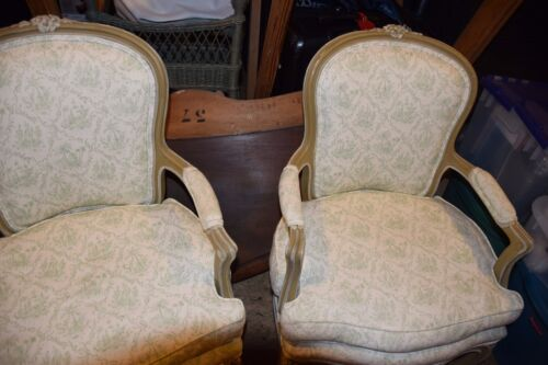 Pr. of Antique Country French Painted Salon Chairs w. Matching Pillows