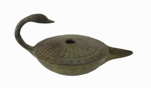 Ancient Greek bronze oil lamp with Swan handle