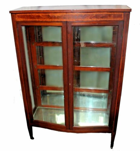 Early 20th C.  Inlaid & Bowed Curio Cabinet by Royal Furniture Co. Grand Rapids