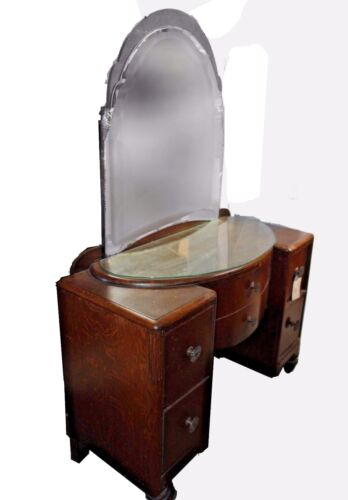Antique Art Nouveau Ladies Vanity Dresser with Glass Top & Mirror, Acorn Feet