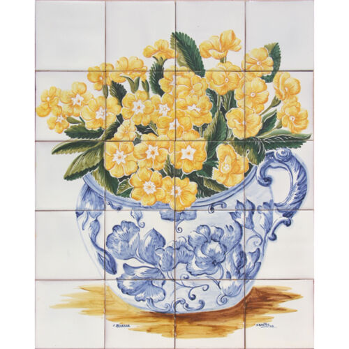 Portuguese Traditional Azulejos Tiles Clay Panel Mural OLD COLORED FLOWERS VASE