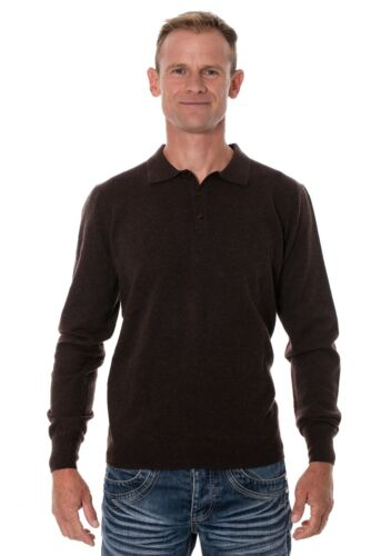 Ugholin Men's 100% Yak Wool Brown Knitted Polo Shirt