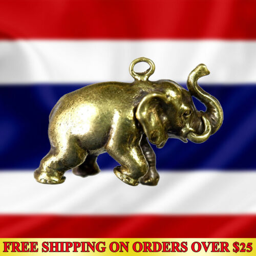 Brass Powerful Holy Lucky Elephant Hunting Money Thai Amulet Pendant Wealth Rich
