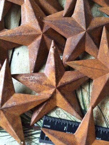 "10 Rusty Barn Stars 3.5 in 3 1/2"" Dimensional 2D w/ hole Craft Supply Country"