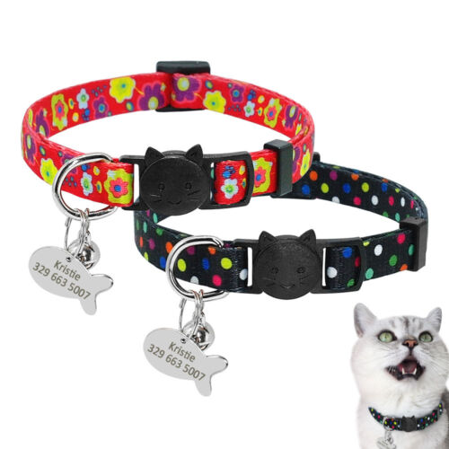 Free Engraved Cat Breakaway Collar&Tag Quick Release Plastic Buckle for Kitten