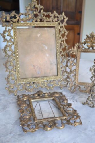 ANTIQUE BRASS ORNATE PICTURE FRAMES LOT OF 4