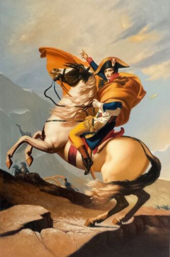 Napoleon Crossing the Alps, 24x36 Hand Painted  Oil Painting on Giclee Canvas
