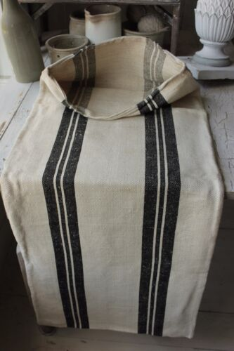 GRAIN SACK RARE BLACK vintage homespun ~ linen cotton mix charcoal cotton linen