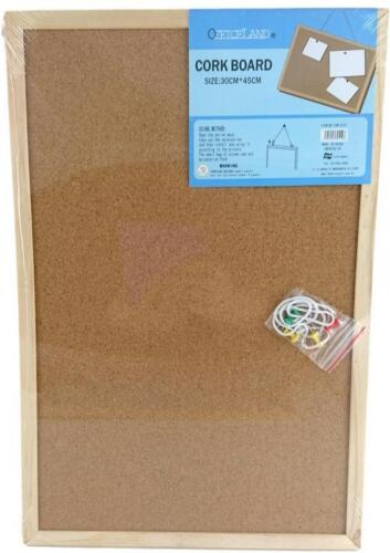 NEW Office Corkboard Message Notice Cork Board Wooden Frame & Hooks 3Size