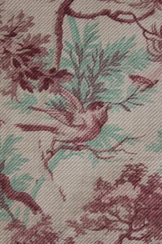 Antique 1880 French bird CURTAIN  printed cotton twill weave upholstery CUTTER