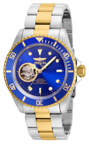 Invicta 21719 Men's Round Blue Gold Tone Automatic Analog Stainless Steel Watch