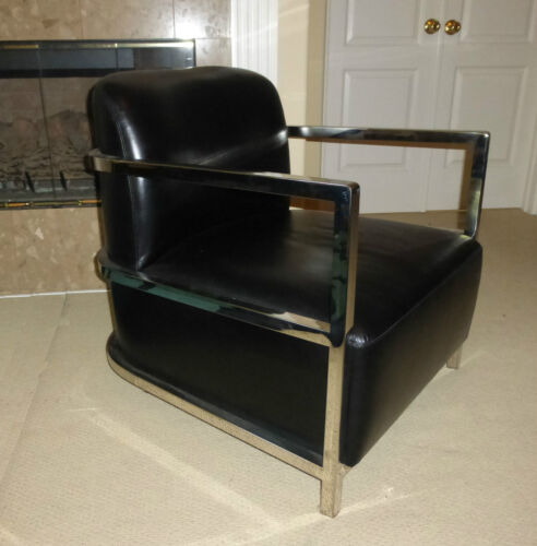 Unique Le Corbusier Contemporary Style Chrome & Black Leather ARM CHAIR