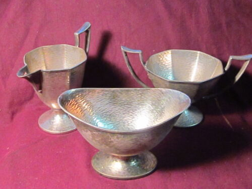 Silverplate H.M.C. EPNS. 3PC SUGAR & CREAMER & WASTE SET HAMMERED SHEFFIELD