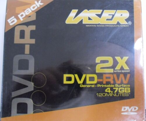 Brand New Laser DVD-RW 4.7GB - 2x - 5 Pack Jewel Case General Printable Surface
