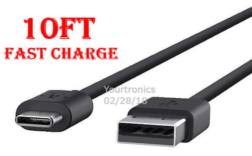 10FT Type C Fast Charging Cable USB-C Rapid Cord Power Charger Quick Charge Sync