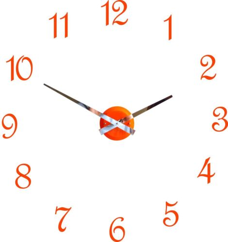 Roco Verre Orange Gloss Luna Hand Clock with Digits