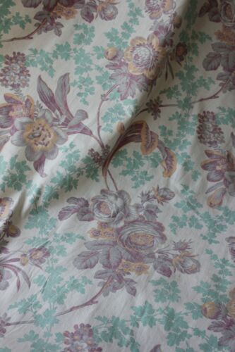 Antique French 1895 printed cotton Belle Epoque floral soft faded turquoise old