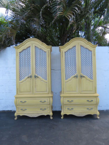 Pair of Tall French Painted Antique Yellow Armoires by Hickory 8587