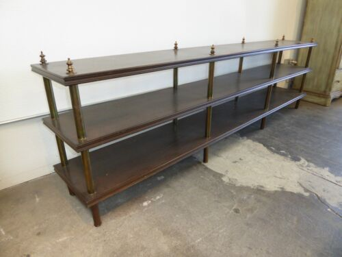 Long Vintage Mid Century Three Tier BOOKCASE Console Table BRASS BARS & Finials