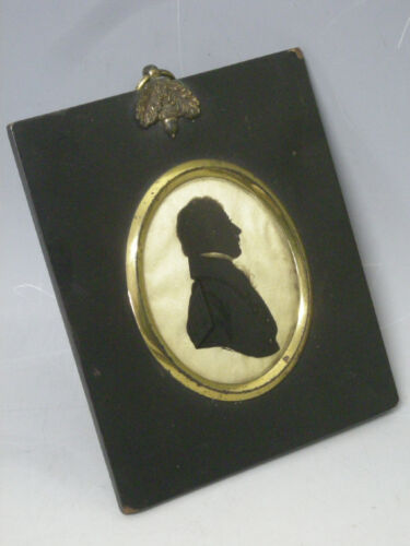 Antique 19th c. Silhouette, Reverse Painted Glass, Original Period Frame, N.R.