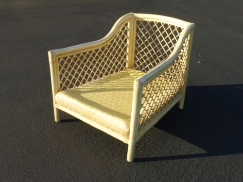 Vintage Mid Century Yellow Bamboo Accent CHAIR No Cushions