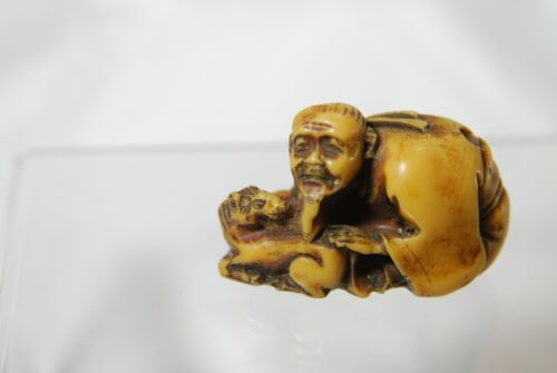 VINTAGE NETSUKE SYNTHETIC IVORY ORIENAL CARVING