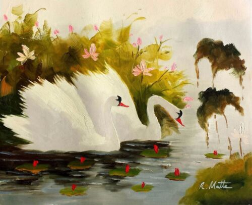 Swan on Pond, #2 , 20x24 Hand Painted Oil Painting on Canvas, Canvas Only