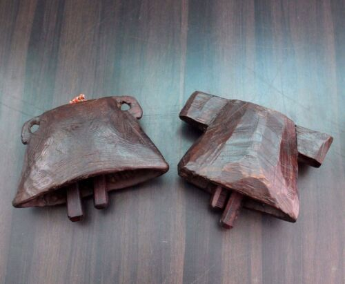 1900s Two Old Antique Beautiful Hand Carved Pet Animals Wooden Neck Bell #563