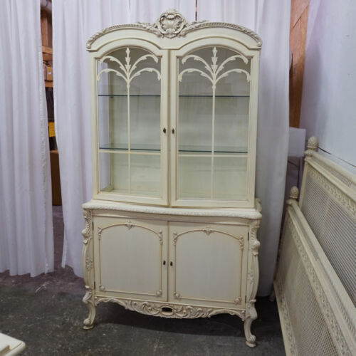 Gorgeous antique white China display cabinet hand carved mahogany