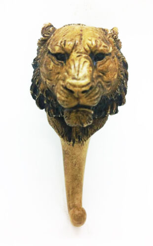 Lion Resin Head Hook Carving Wall Hanging Decor Classic Handmade Art Collectible