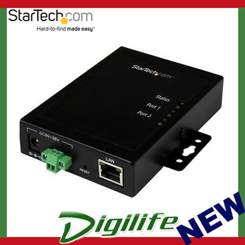 STARTECH 2 Port Serial-to-IP Ethernet Device Server - RS232 - Metal & Mountable