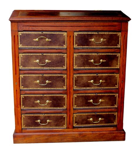 Antique Walnut & Tooled Leather French Empire Cartonnier Chest of Drawers