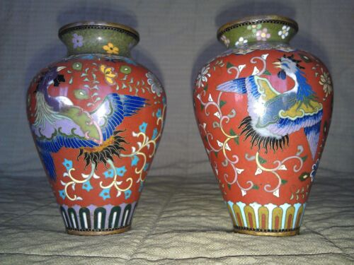 """7MMM13 MATCHING PAIR OF CLOISOINE VASES, PURCHASED 1965 +/-,5-1/4"""" TALL"""