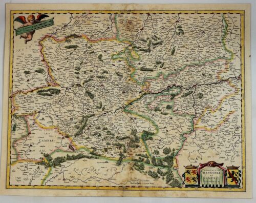 Original Copper Engraved Map of Germany - HANNONIAE et NAMURCI  by Bleau in 1645
