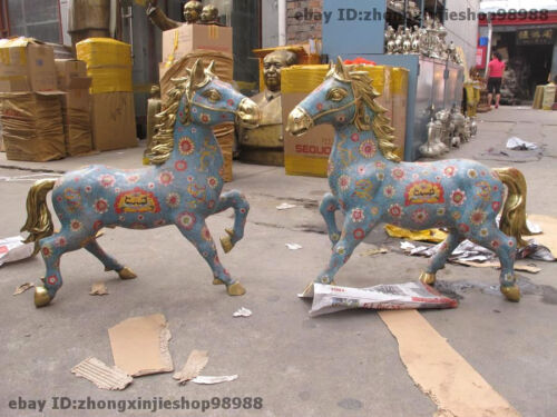 Chinese Royal Pure Bronze Cloisonne Feng Shui Lucky Wealth war - horse Pair