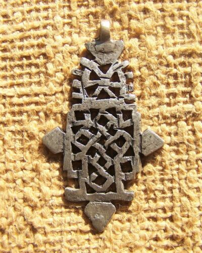 """African Silver Christian Coptic Cross Pendent from Ethiopia 3"""" Tall"""