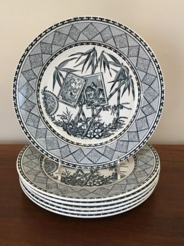 "J Meir & Son BAMBOO 9 ½"" Transferware Aesthetic Movement Plates ~ Set of 6"