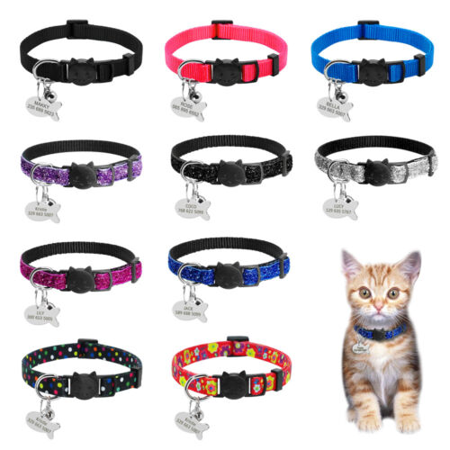 Safety Personalized Breakaway Cat Collars with Bell for Cat Kitten Kitty Puppy