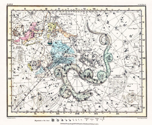 Astronomy Celestial Atlas Jamieson 1822 Plate-02 Art Paper or Canvas Print
