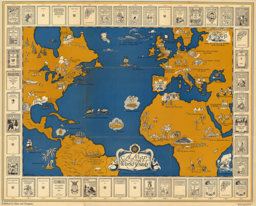 A Map of the World of Books 1928 75cm x 60cm High Quality Art Print