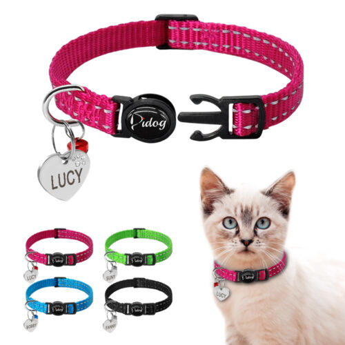 Safety Reflective Personalized Breakaway Cat Collars Quick Release Kitten Collar