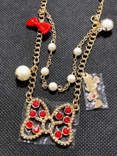 Disney Minnie Mouse Girls Adjustable Gold Plated Necklace Diamante Pendants New