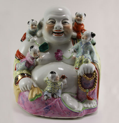 Large Antique Chinese Famille Rose Porcelain Laughing Buddha w. Kids - Marked