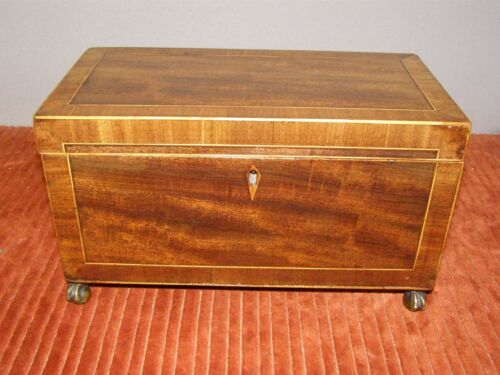 Antique Victorian Mahogany Tea Caddy w/ Satinwood Banding & Brass Hardware