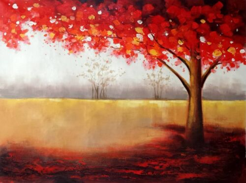 Red Tree, 36x48 100% Hand Painted Oil Painting on Canvas,
